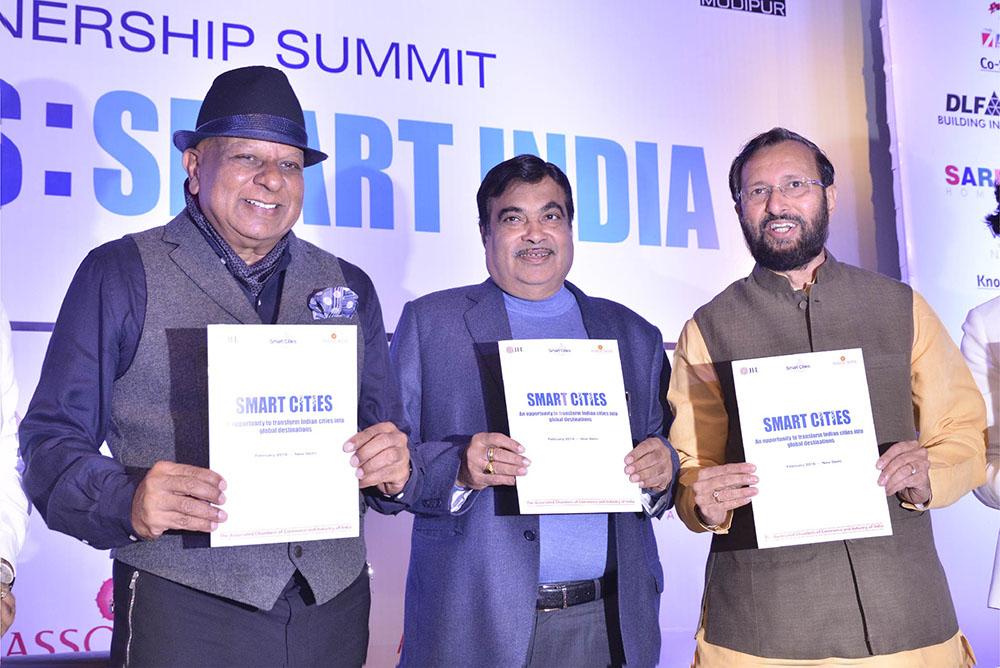 Dr. M with Indian Cabinet Ministers Nitin Gadkari and Prakash Javedekar