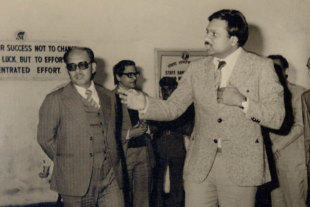 Dr. M at the Modi Rubber factory in Modinagar India
