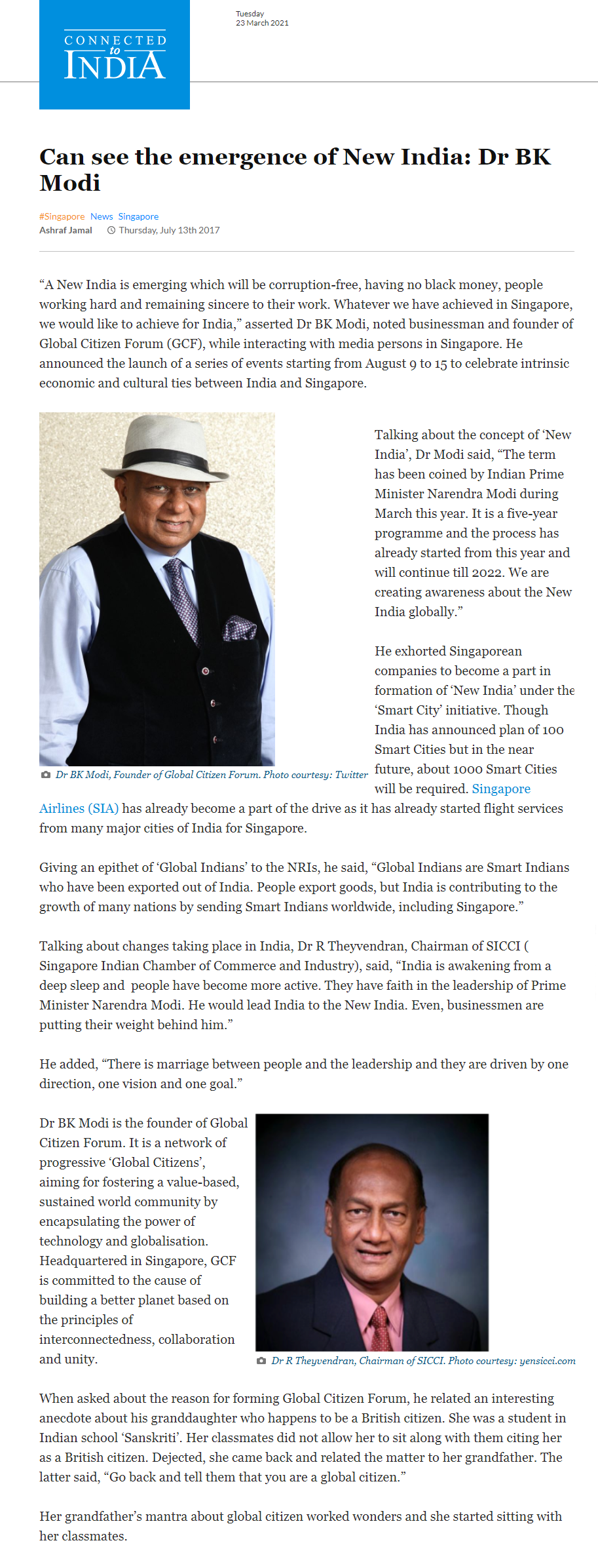 Dr. M featured in Connected to India