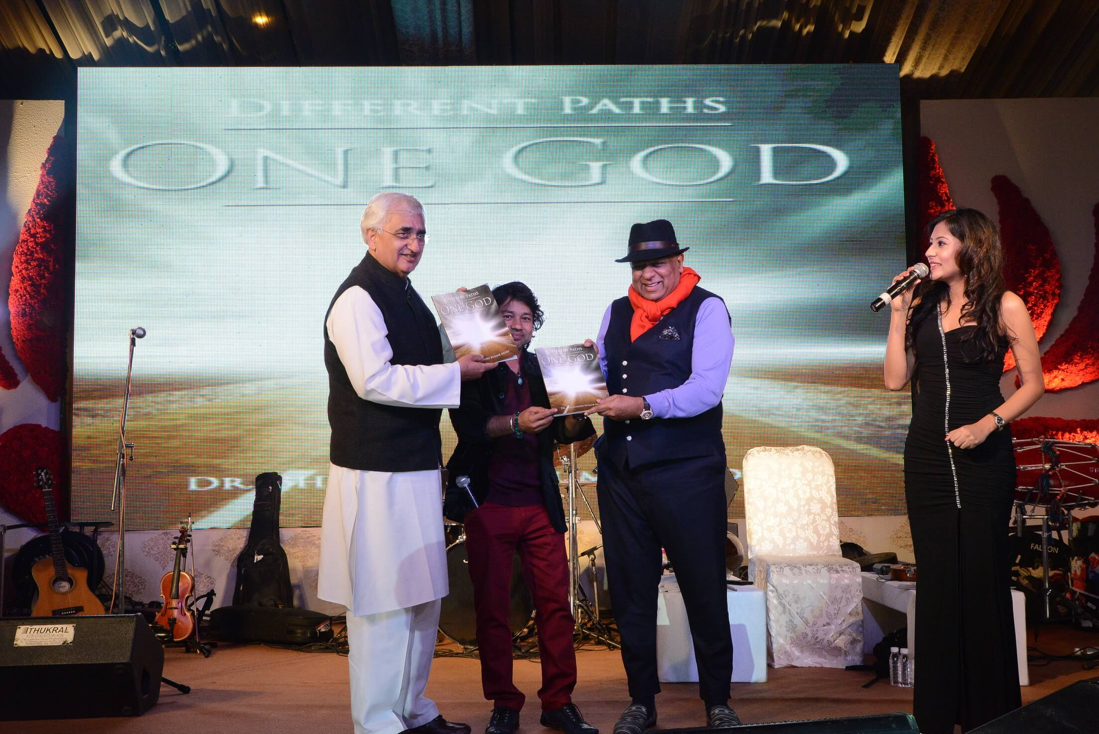 Dr. M Book One God launched by Salman Khurshid Former Indian Union Minister for External Affairs and Kailash Kher
