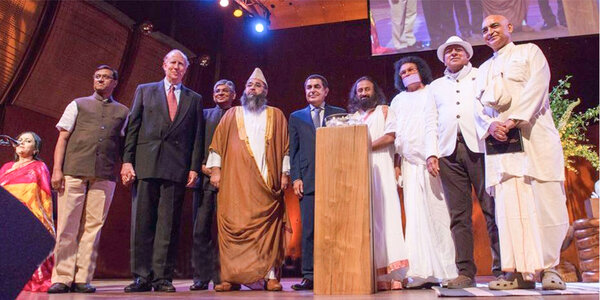 Dr. M with Sri Ravi Shankar at Global Citizen Forum in New York USA